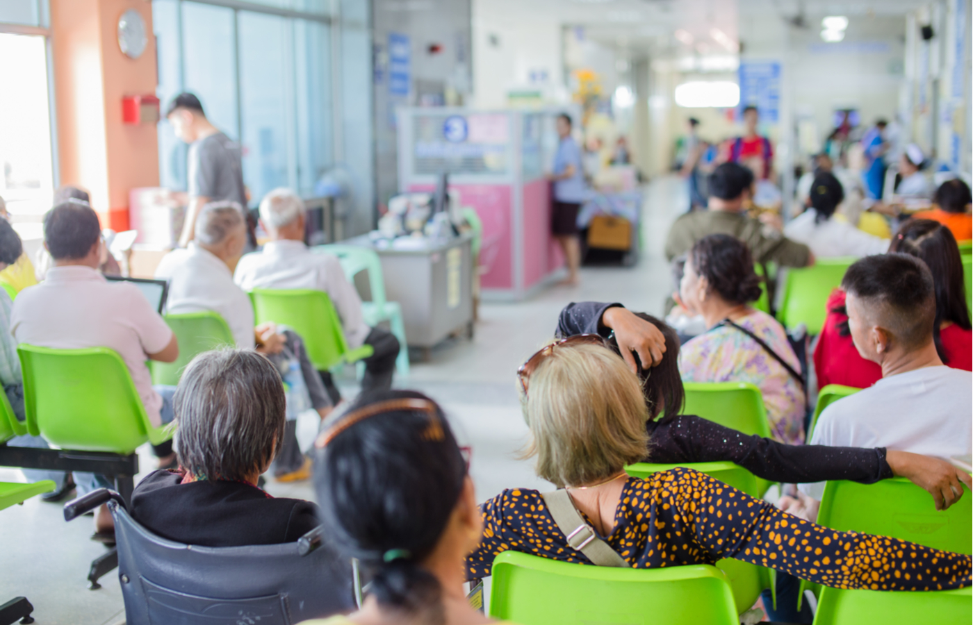patients in hospital waiting area