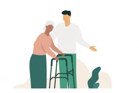 Illustrated image with older person and younger person